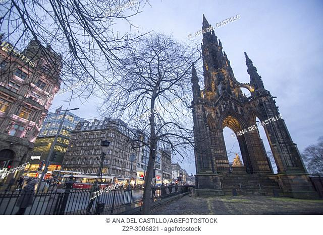 Scott monument by twilight in Edimburgh, Scotland. UK