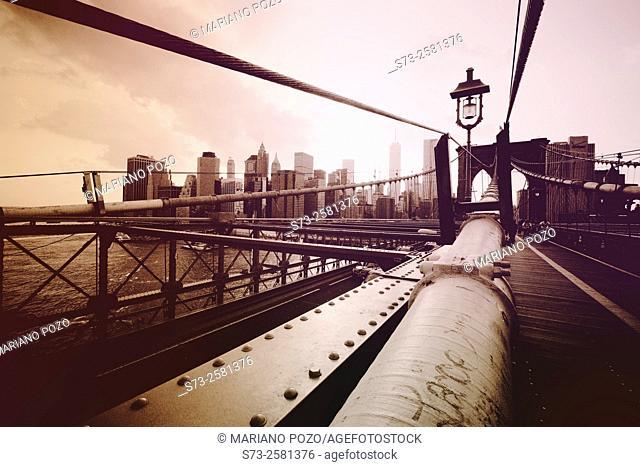 Brooklyn Bridge detail, Manhattan, Down Town, New York City, New York, United States