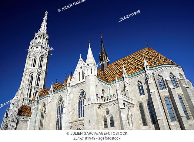 Matthias Church near the Fisherman's Bastion. Hungary, Budapest, Buda, Castle Hill