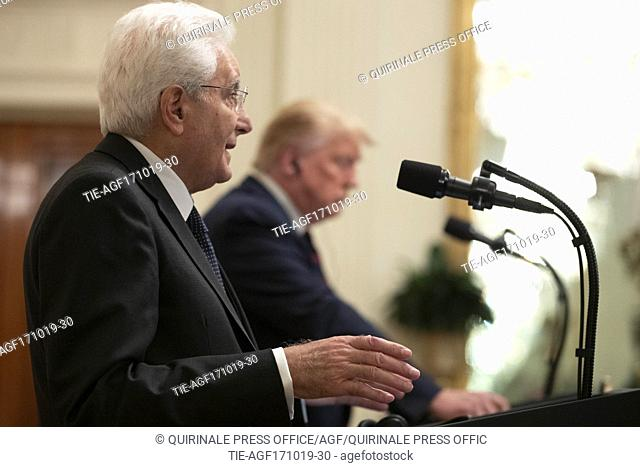 US President Donald J. Trump (R), Republic President of Italy Sergio Mattarella (L) on the occasion of the Official Visit to the United States of America