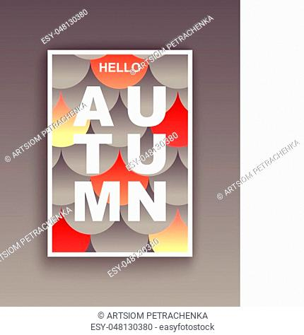 Hello Autumn. Modern style graphic poster. Vector design