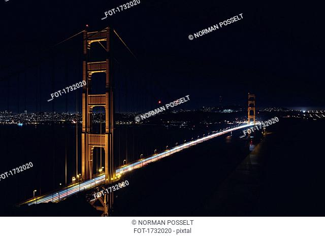 High angle view of Golden Gate Bridge at night, San Francisco, California