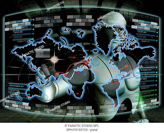 Robot and world map, illustration