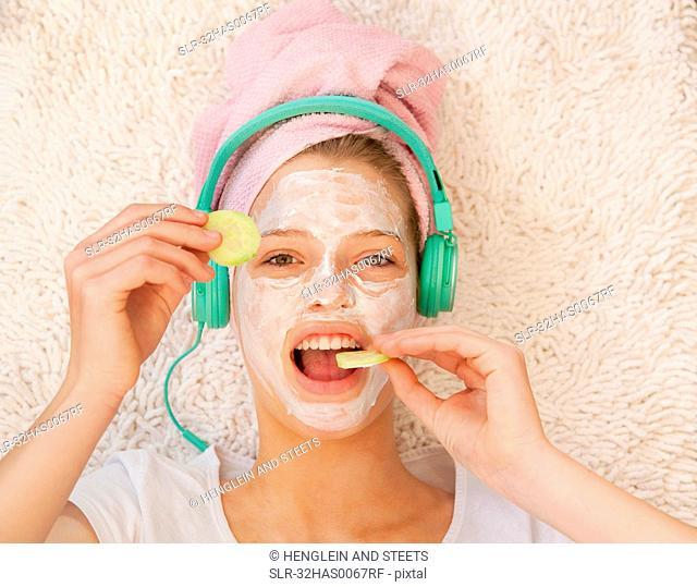 Teenage girl wearing beauty mask