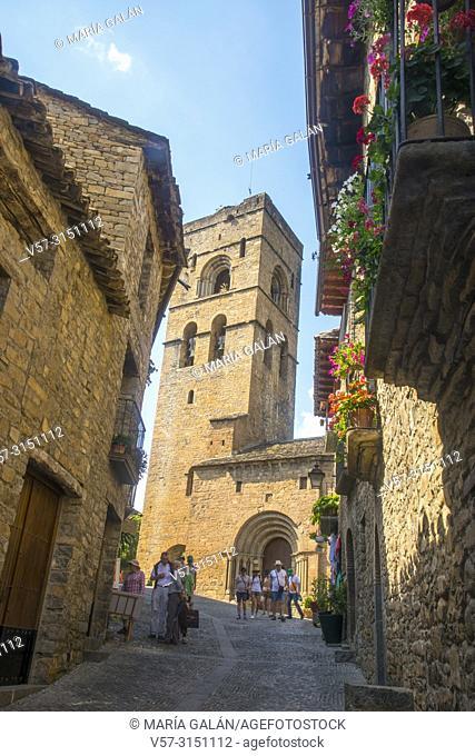 Street and church. Ainsa, Huesca province, Aragon, Spain