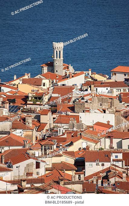 Aerial view of rooftops in Piran cityscape, Adriatic Sea, Slovenia