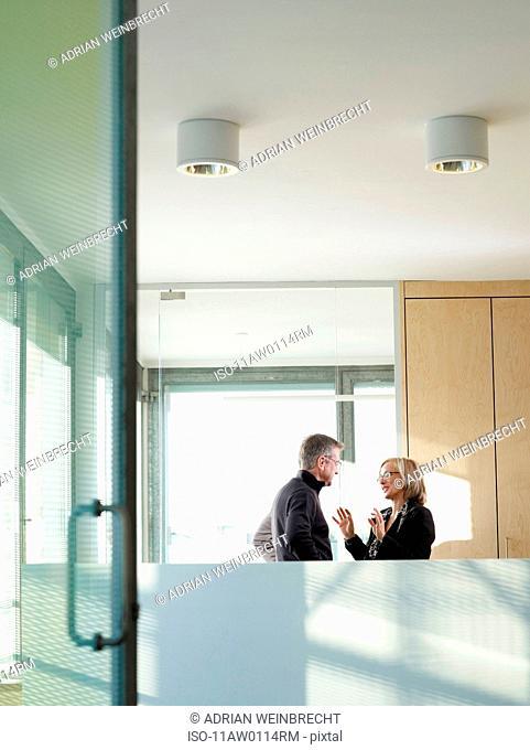 Man and woman interacting