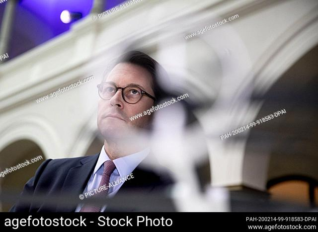 """14 February 2020, Berlin: Andreas Scheuer (CSU), Federal Minister of Transport, stands during the handover of """"""""future checks"""""""" for three drone projects in the..."""