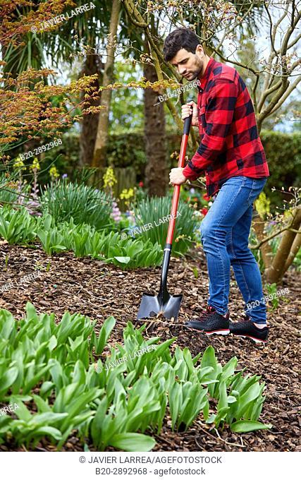 Gardener with hand tool, Garden, Digging shovel, Aiete Park, Donostia, San Sebastian, Gipuzkoa, Basque Country, Spain, Europe