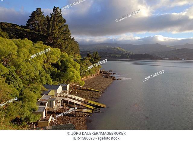 Boathouses at Akaroa Harbour, Banks Peninsula, Canterbury region, South Island, New Zealand