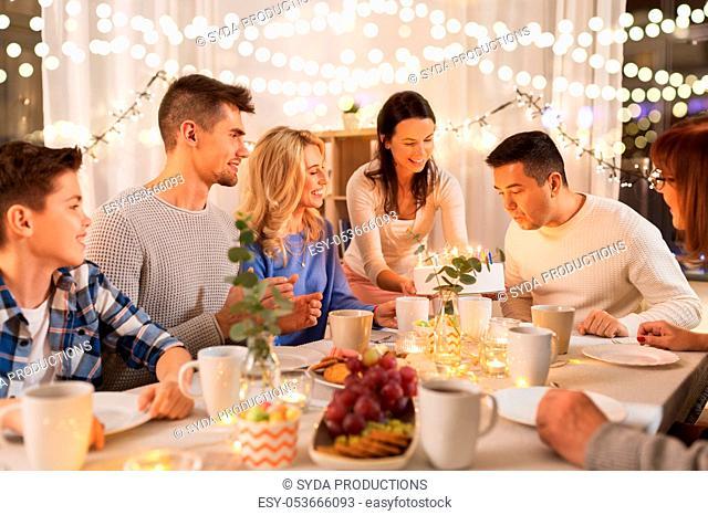 happy family having birthday party at home