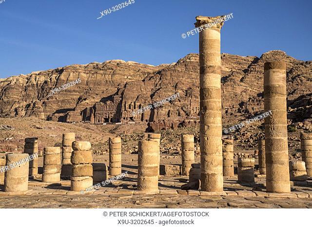 columns of the Great Temple of Petra, Jordan, Asia