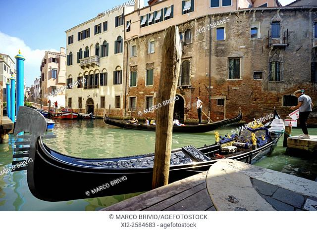 Gondolas in the canals of Venice Italy