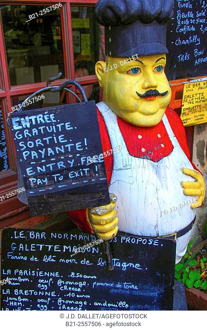 "France-Pays de la Loire- Mayenne- at Domfront.: at Bar Le Normand- """"Entrée Gratuite-Sortie Payante"""" (Free entry-Pay to exit !"""")"