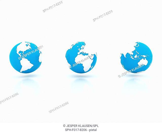 Three blue and white globes, illustration