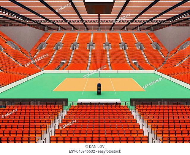 3D render of beautiful sports arena for volleyball with floodlights and orange seats and VIP boxes for ten thousand people