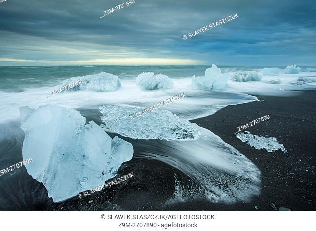 Glacier ice on Jokulsarlon beach, Iceland