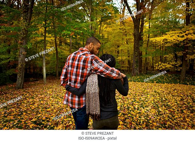 Rear view of mid adult couple strolling in autumn forest