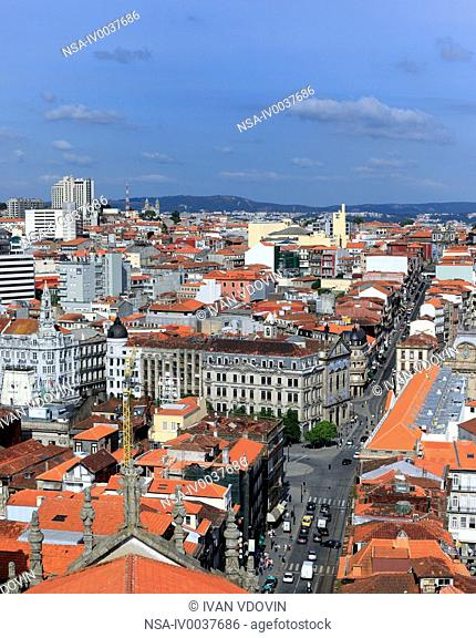 View of city from Clerigos tower, Porto, Portugal