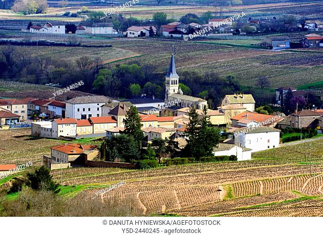 Chenas - small town surrounded by beaujolais vineyards, early spring, Chenas is also name of appellation of red wines in Northern Beaujolais, Rhône department