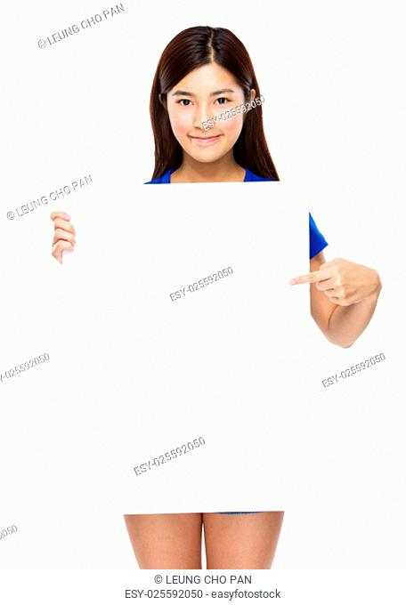 Young woman show with the white poster