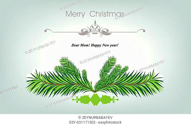 Xmass card with fir and snowflakes for greeting cards or invitation template