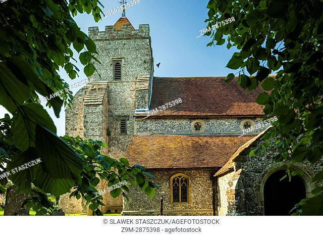 Spring afternoon at St Peter's church in Firle village, East Sussex, England. South Downs National Park