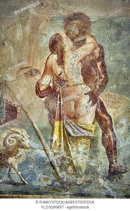 Polyphemus caressing Galatea, a Roman erotic fresco painting from Pompeii, 50-79 AD , from the Casa dei Capitelli colorati, inv no 27687