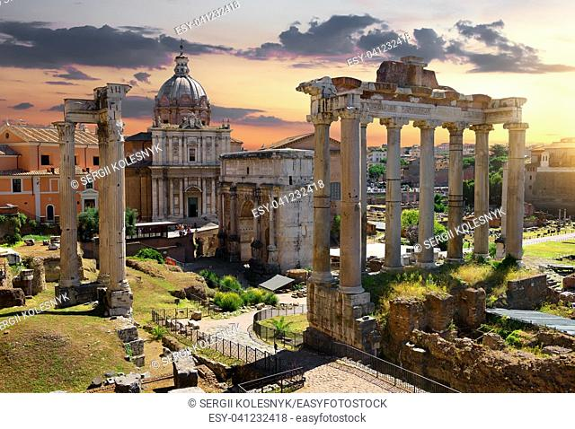 Morning over ruins of Roman Forum, Italy