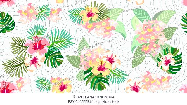 Hibiscus flowers and magnolia on dotted background. Vintage motifs. Beach textile collection