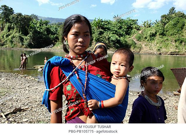 A tribal Chakma mother with her children at Thanchi Bandarban, Bangladesh December 2009
