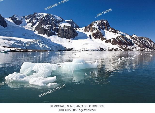 A view of Storpollen Glacier, on the southwestern side of Spitsbergen Island in the Svalbard Archipelago, Barents Sea, Norway