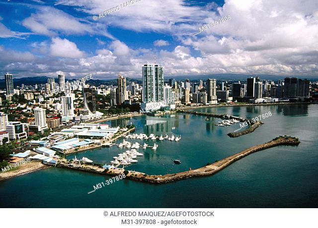 Bay of Panama and banking area. Panama City. Panama