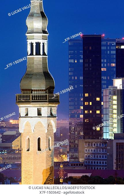 Town Hall Tower and modern city from viewing platform in Toompea district,Tallinn,Estonia