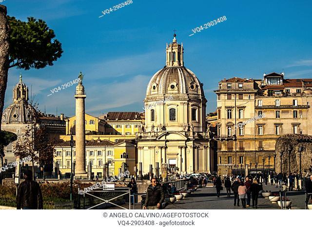 Santa María di Loreto Church and Santissimo Nome di Maria at Piazza Venezia, Trajan's Column, Rome, italy