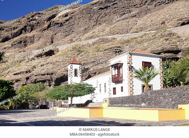 Church Santuario de Las Angustias with Puerto de Tazacorte, island La Palma, Canary islands, Spain