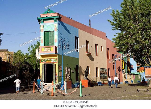Argentina, Buenos Aires, La Boca District, colored facades of the Calle Caminito