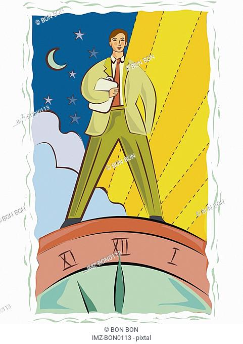 Illustration of a man standing on a clock