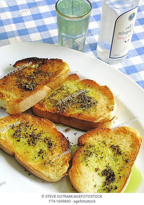 Greek Cuisine  Grilled Bread with Olive Oil and Oregano Meze