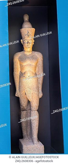 Photo taken during the opening visit of the exhibition â. œOsiris, Egypt's Sunken Mysteriesâ. . . Egypt, Alexandria, Maritime Museum