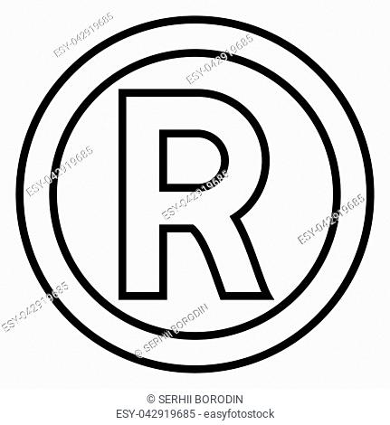 Symbol copyright icon black color vector illustration flat style simple image