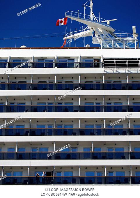 Two passengers on cruise liner Caribbean Princess moored at Halifax in Nova Scotia