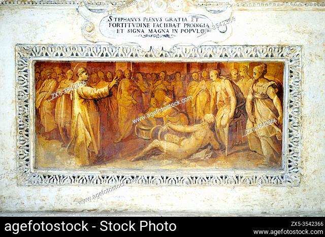 Fresco on the altar in the Basilica di Santo Stefano Rotondo al Celio - Rome. Italy