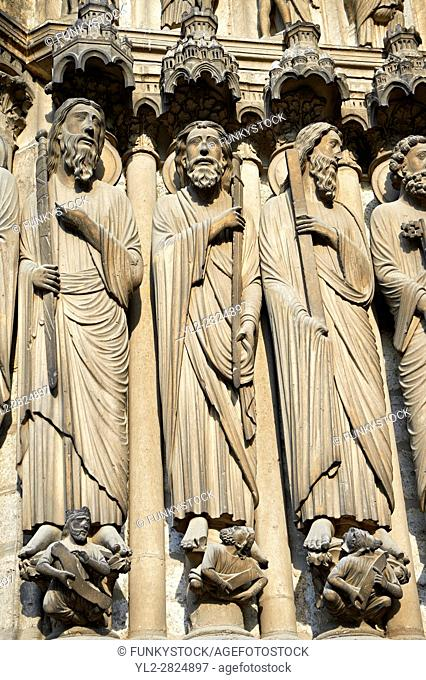 Medieval Gothic Sculptures of the South portal of the Cathedral of Chartres, France. A UNESCO World Heritage Site.