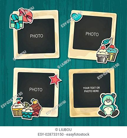 Collage photo frame on vintage background. Album template for kid, baby, family or memories. Scrapbook concept, vector illustration