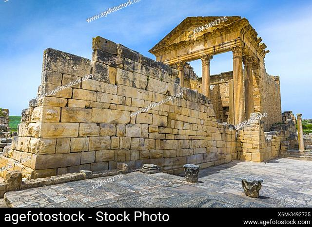 The Capitol. Dougga Roman city ruins. Tunisia