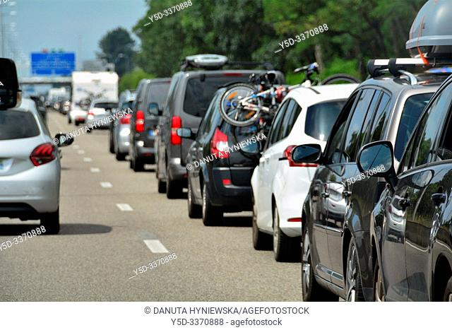 Stop and go traffic on French highway, motorway, holiday traffic in July, Southern France direction for San Sebastian, France, Europe