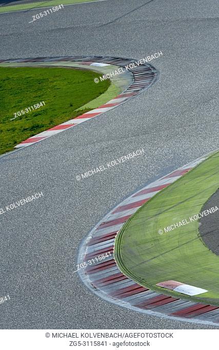 S-curve in motorsport race track. Circuit de Catalunya, Montmelo near Barcelona, Spain