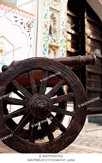 Close-up of a cannon, Pushkar, Ajmer, Rajasthan, India