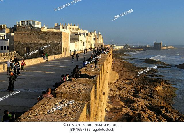 Sqala de la Kasbah, seawall of the old town of Essaouira, Unesco World Heritage Site, Morocco, North Africa